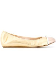 Lanvin metallic toe-capped ballerina shoes