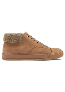 Lanvin Mid-top suede and shearling trainers