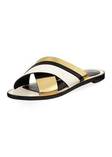 Lanvin Mirror Crisscross Flat Slide Sandal