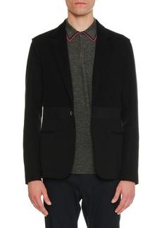 Lanvin Mixed-Media One-Button Jacket