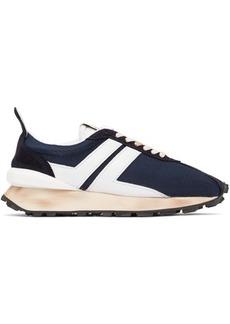 Lanvin Navy Mesh Bumper Sneakers