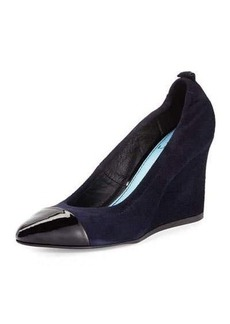 Lanvin Nubuck Cap-Toe Wedge Pump