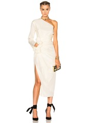 Lanvin One Shoulder Silk Dress