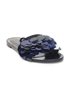Lanvin Pailette Leather Slide Sandals