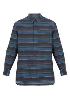Lanvin Patch-pocket striped cotton-blend shirt