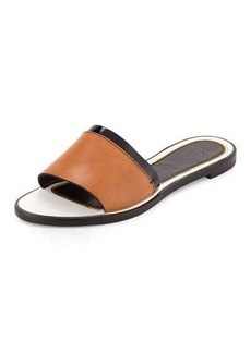 Lanvin Patent-Trim Leather Slide Sandal