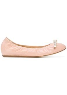 Lanvin pearl-embellished ballerina shoes - Pink & Purple