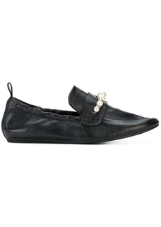 Lanvin pearl-embellished loafers - Black
