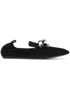 Lanvin pearl embellished loafers - Black