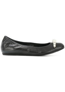 Lanvin pearl trim ballerina shoes - Black