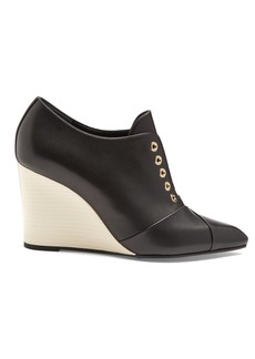 Lanvin Point-toe leather wedges