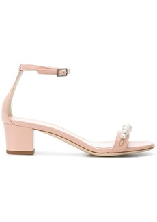 Lanvin rhinestone pearl embellished sandals - Nude & Neutrals