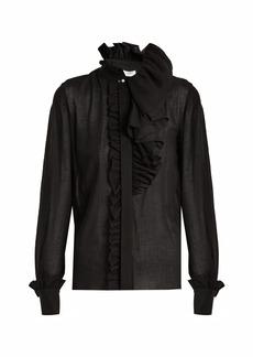 Lanvin Ruffle-trimmed asymmetric blouse