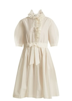 Lanvin Ruffle-trimmed drawstring-waist cotton-blend dress