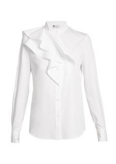 Lanvin Ruffled-panel cotton-poplin shirt