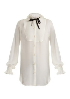 Lanvin Ruffled-trim silk blouse