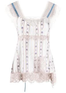Lanvin floral-print lace-trimmed camisole