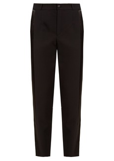 Lanvin Satin-stripe slim-leg wool trousers