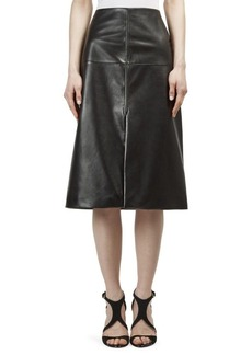 Lanvin Seamed Leather Skirt