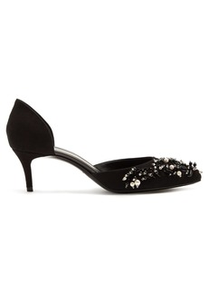 Lanvin Sequin and faux-pearl embellished suede pumps