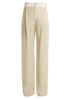 Lanvin Side-stripe wide-leg crepe trousers