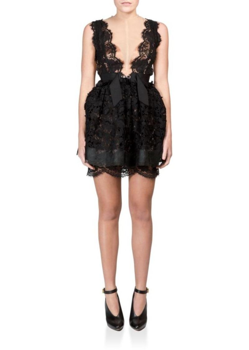 Lanvin Sleeveless Lace Illusion Dress
