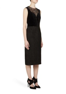 Lanvin Sleeveless Velvet & Lace Dress