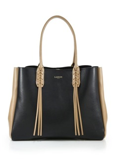 Lanvin Small Two-Tone Tasseled Leather Tote