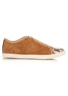 Lanvin Capped-toe snakeskin and suede low-top trainers