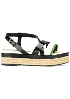 Lanvin strap detail wedge sandals - Black