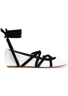 Lanvin strappy ballerina shoes - White