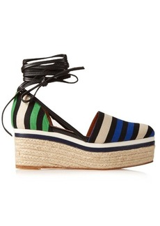 Lanvin Striped canvas espadrille wedge sandals