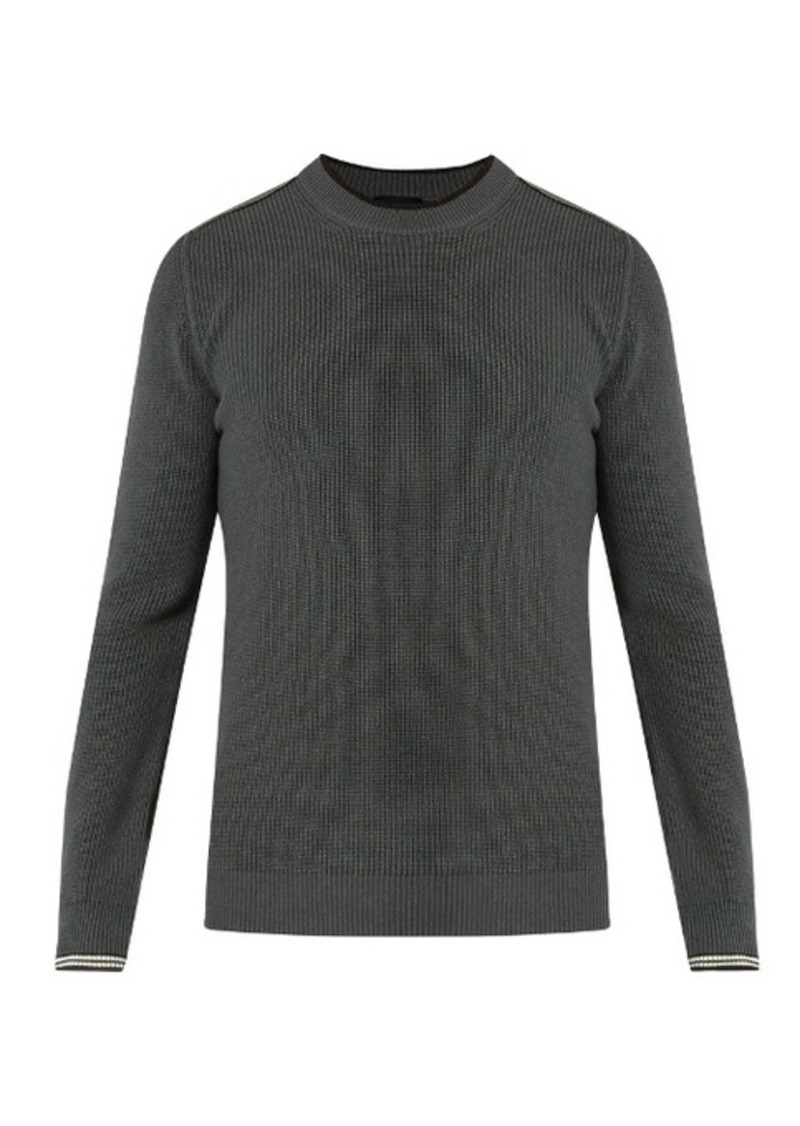Lanvin Lanvin Striped-cuff cotton and wool-blend sweater ...