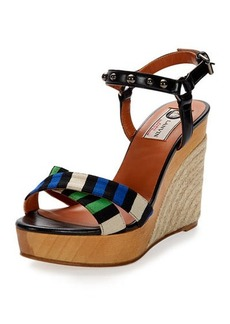 Lanvin Striped Espadrille Wedge Sandal