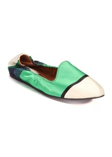 Lanvin Striped Satin Smoking Slippers