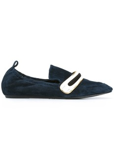 Lanvin striped vamp mocassins - Blue