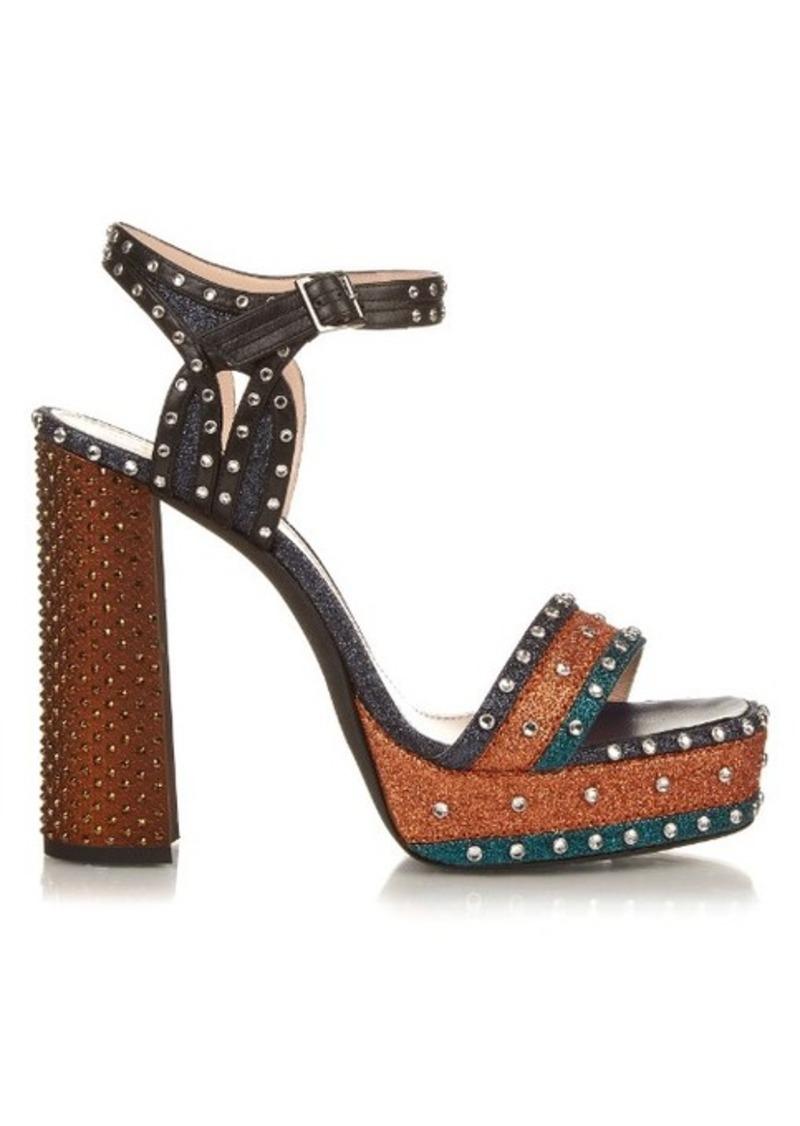 Lanvin Stud and glitter-embellished platform sandals