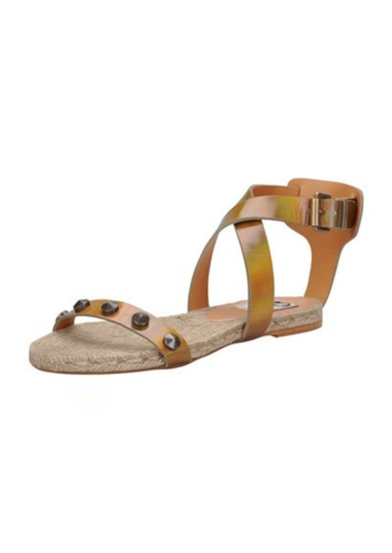 Lanvin Studded Iridescent Espadrille Sandal, Bronze