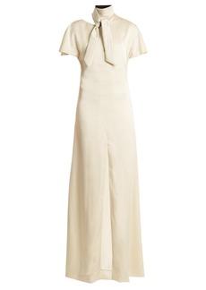Lanvin Tie-neck sable gown
