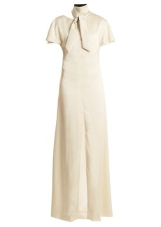 Lanvin Tie-neck sable gown