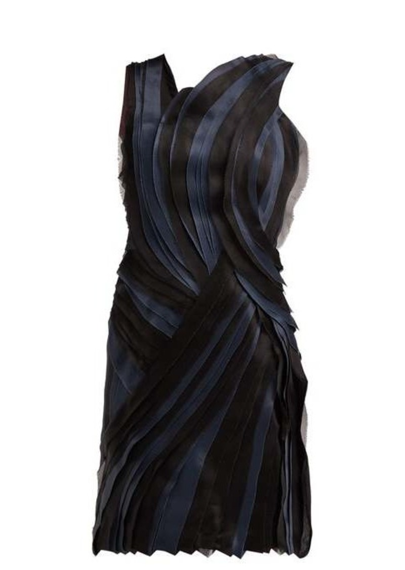 Lanvin Tiered silk voile and satin mini dress