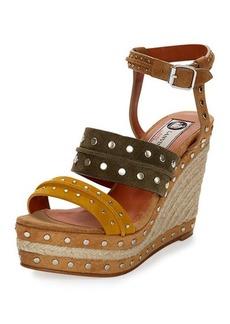 Lanvin Tricolor Suede Espadrille Sandal