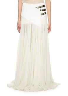 Lanvin Triple-Buckle Long Wrap Skirt