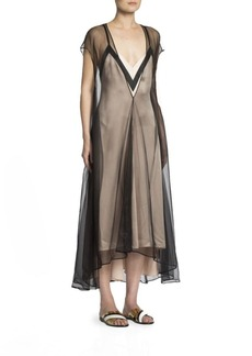 Lanvin Tulle Overlay Slip Dress
