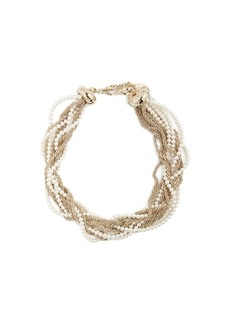 Lanvin Twisted faux-pearl and chain necklace