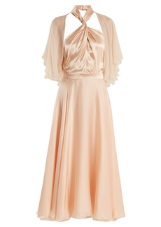 Lanvin Twisted halterneck silk midi dress