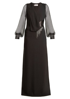 Lanvin V-neck draped-front satin-back crepe gown
