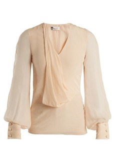 Lanvin V-neck draped-front silk blouse