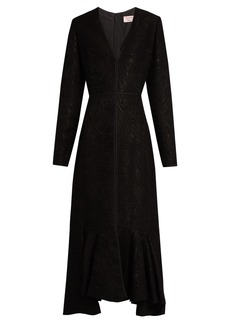 Lanvin V-neck wool-blend moiré dress