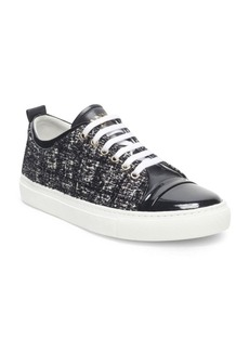 Lanvin Velvet and Patent Leather Low Top Sneakers
